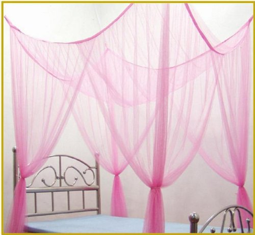 4 Poster Four Corner Pink Bed Canopy Mosquito Net Full