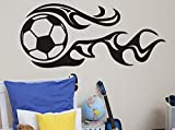 21.65x49.21in Fire soccer world cup Vinyl Decal Sticker wall mural decals Wall Sticker