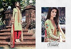 Ganga Fashions Dark Khaki Printed Cotton Silk Fabric Designer Salwar Suit GE-7007-Summer Sonnet