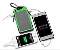 Ko0min Solar Phone Charger 5000mAh & External Battery Pack with Dual USB Port - Works with Apple iPhone 6 , Samsung Galaxy S6 , HTC One M9 & More! (Green) from Ko0min