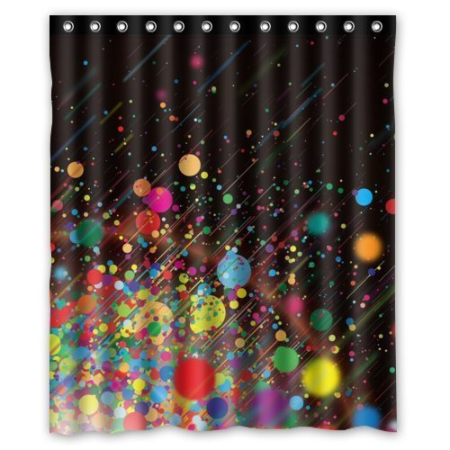 Special Design Abstract Multicolor Dots Paint Splatter Waterproof Bathroom Fabric Shower Curtain,Bathroom decor 60