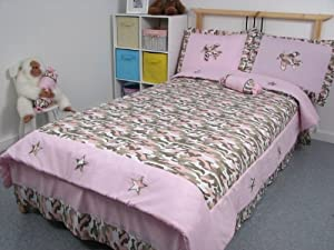 SoHo Pink Camouflage Girl Twin Kids Childrens Bedding Set 4 pcs