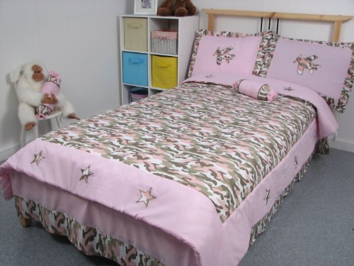 Pink Camouflage Girl Twin Kids Childrens Bedding Set 4 pcs