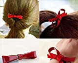 Blingys Jewelry Bright Red Bowknot Style Hair Clip With Hair Band (2 Piece Combo Set) With Blingys Bag