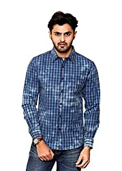 Rafters light blue and indigo blue check, full sleeves men's slim fit casual shirt