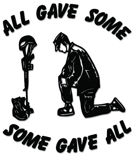 Soldier Praying Some Gave All Vinyl Decal Sticker For Vehicle Car Truck Window Bumper Wall Decor - [6 inch/15 cm Tall] - Matte BLACK Color (Window Decal Praying Soldier compare prices)