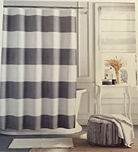 Tommy Hilfiger Cabana Stripe Shower Curtain Gray And White 7