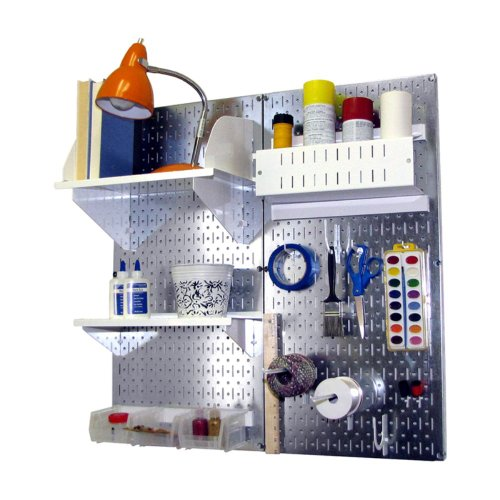 Wall Control Wall Control Pegboard Hobby Craft Pegboard Organizer Storage Kit - Galvanized, Galvanized Steel With White Accessories, Metal