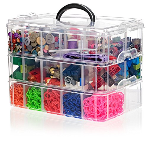 California Home Goods Snapcube Stackable Arts & Crafts Organizer Case, Clear, Perfect Storage for Thread, Shopkins Littlest Pet Shop Figures, Rainbow Loom, Perler Beads, Figurines, Accessories (Art Craft & Sewing compare prices)