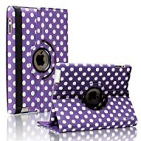 SANOXY¨ 360 Degrees Rotating Stand PU Leather Case for iPad 2/3/4, iPad 2nd generation (iPad 2/3/4 POLKA DOT PURPLE & WHITE) from SANOXY