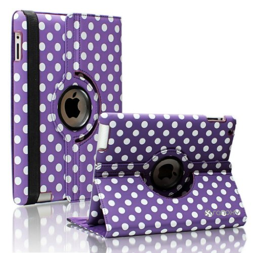 Sanoxy¨ 360 Degrees Rotating Stand Pu Leather Case For Ipad 2/3/4, Ipad 2Nd Generation (Ipad 2/3/4 Polka Dot Purple & White)
