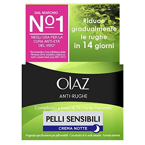 Olaz Antirughe Pelli Sensibili Crema Notte Idratante Delicata Anti-età, 50 ml