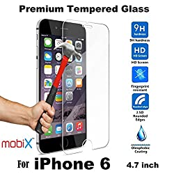 mobiX iPhone 6 / 6S Tempered Glass Screen Protector Premium Pro+ 2.5D Curved Edges, 9H Hardness for Apple iPhone 6 / 6S - 4.7 Inch