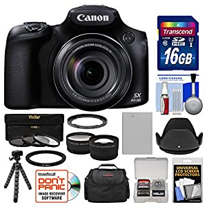 Canon PowerShot SX60 HS Wi-Fi Digital Camera with 16GB Card + Case + Battery + Flex Tripod + Filters + Tele/Wide Lens Kit