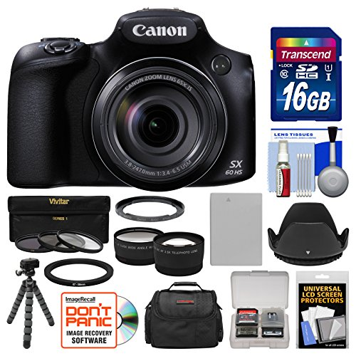 Canon PowerShot SX60 HS Wi-Fi Digital Camera with 16GB Card + Case + Battery + Flex Tripod + Filters + Tele/Wide Lens Kit (Canon Powershot Sx510 Hs Bundle compare prices)