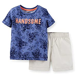 Carters 12 Month 2-Piece Jersey Tee & Canvas Short Set Color