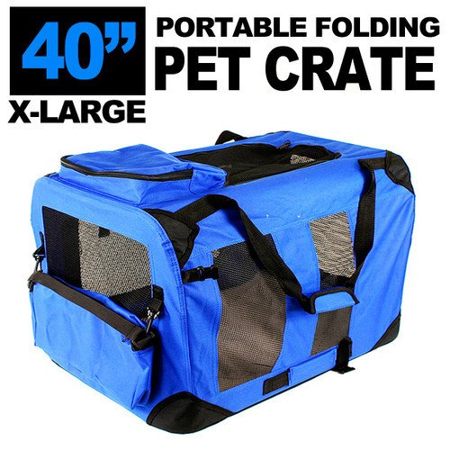 New Xl Dog Pet Puppy Portable Foldable Soft Crate Playpen Kennel House - Blue Green Red (Blue)