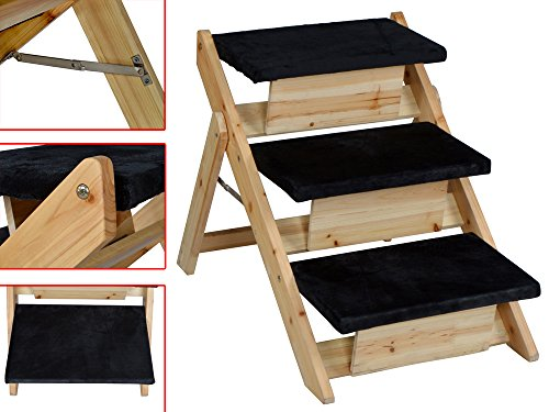 Pet Folding 2-In-1 Stairs Ramp Non Slip Sturdy Wooden Step Dog Cat Animal Ladder front-623720