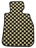 ZERO ゼロ フロアマット(脱臭・消臭加工済み) ベンツ Cクラス セダン/ワゴン 2007/6~ W204 右ハンドル用 チェック イエロー/ブラック ヒールパッド付
