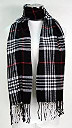 Tapp C. Cashmere Feel Plaid and Check Tassel Ends Scarf