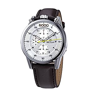 Megir 3005 Men's Chronograph Leather Strap Waterproof Watches Brown&White