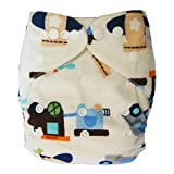 Ecoable Minky All-In-One Bamboo Inner Cloth Diaper/Sewn-In Insert, Boy's Toys