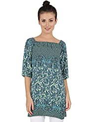 TAQ - The Apparel Quotient's Naomi Viscose Printed Short Kurta With Side Slit's And Elasticated Neckline