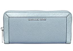 Michael Michael Kors Jet Set Frame Out Zip Around Continental Wallet (Powder Blue)