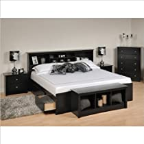 Hot Sale Prepac Sonoma 5-Piece King Bedroom Set with Storage Bench in Black