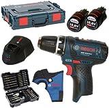 Bosch GSR 10,8-2-LI-Taladro (batería Incluye portabrocas y 2baterías 2,0Ah y cargador AL1130CV en L-Boxx, talla 1con Holster + Bosch 43puntas) Incluye SW 6,8,10