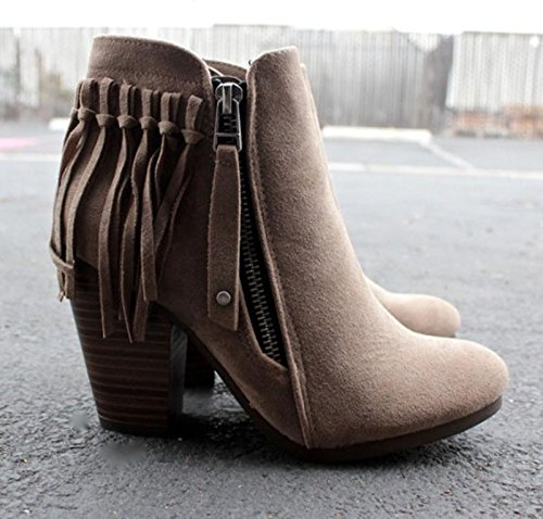 Febelle Fashionable Women Scrub Bigh-heeled Boots High Heel boots Women Hot Vintage Khaki & 38 3