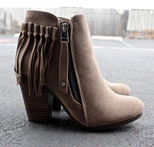 Febelle Fashionable Women Scrub Bigh-heeled Boots High Heel boots Women Hot Vintage Khaki & 38 3
