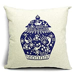 Decorative Bed Pillow Storage : Amazon.com - Porcelain Storage Cotton/Linen Decorative Pillow Cover