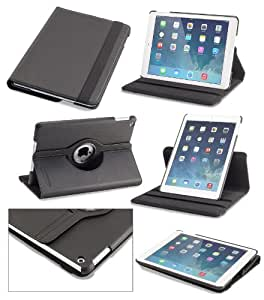 Devicewear Detour: iPad Air Case Rotating Vegan Leather Case/Stand with Dual On/Off Switches - Black (DET-IPA-BLK)
