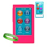 Uniquely Vibrant Pink Silicone Skins for All Models of the Apple iPod Nano 7 (7th generation 7G Slate Blue Pink Purple Yellow Silver 16Gb 32GB 64 GB Newest Model) + iPod nano 7 Screen Protector + Vangoddy Brand Wrist Band