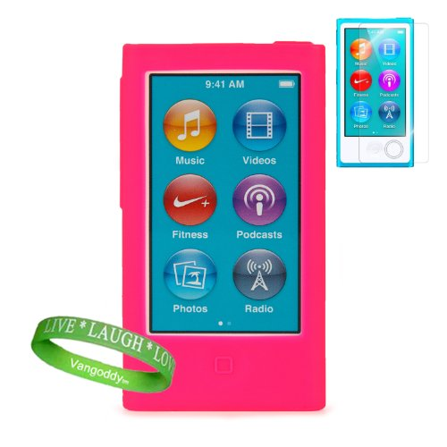 Uniquely Vibrant Pink Silicone Skins For All Models Of The Apple Ipod Nano 7 (7Th Generation, 7G, Slate, Blue, Pink, Purple, Yellow, Silver, 16Gb, 32Gb, 64 Gb, Newest Model) + Ipod Nano 7 Screen Protector + Vangoddy Brand Wrist Band