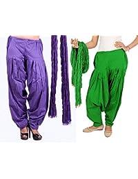 Rama Cotton Combo Of 2 Ethnic Full Patiala Salwar With Dupatta ( Green, Purple_Free Size)