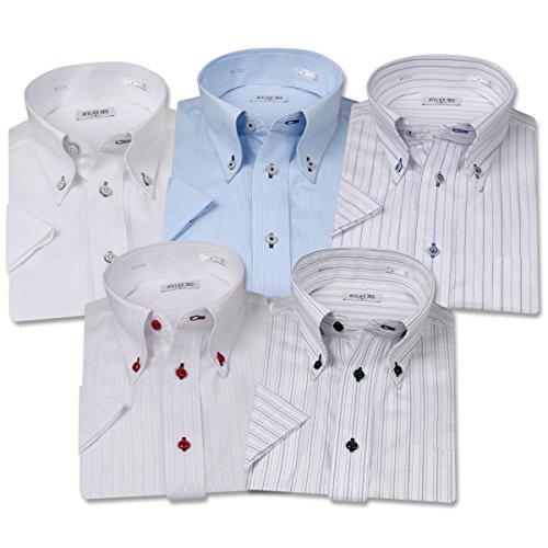 (アトリエサンロクゴ) atelier365 ワイシャツ 半袖 5枚組セット 形態安定 ビジネス 4種類から選べるYシャツ/sa02
