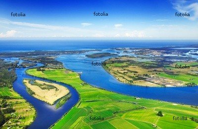 "Wallmonkeys Peel and Stick Wall Graphic - Aerial View of Coastal Waterways, Blue Sky and Ocean - 72""W x 47""H"