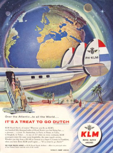 Go Dutch Over The Atlantic Klm Constellation Ad 1957
