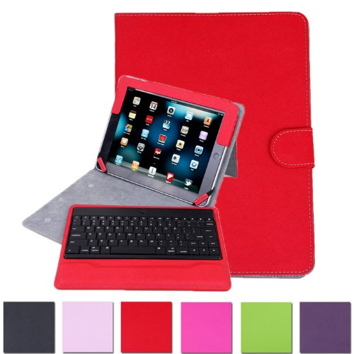 Hde Folding Leather Folio Case Cover Stand W/ Removable Bluetooth Keyboard For Ipad 2/3/4 Tablet (Red)