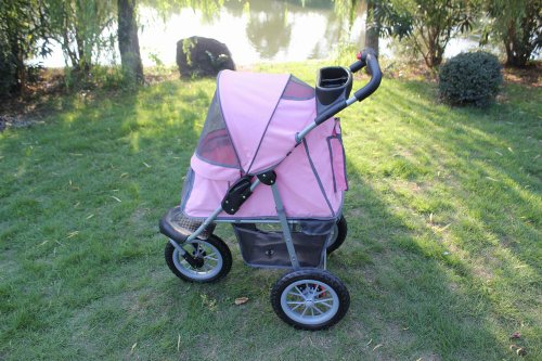 New BestPet Pink Sporty Pet Jogger Jogging Dog Cat Stroller Carrier