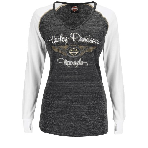 Harley-Davidson® Womens 110th Anniversary Harley Dazzle V-Neck Tri-Blend with Thumbholes Black Long Sleeve T-Shirt HN22-H26F (Large)