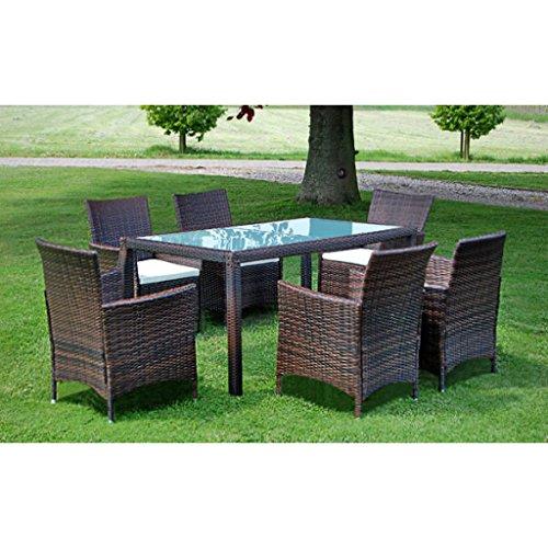Set mobili da giardino in rattan Marrone 1 Tavolo 6 Sedie