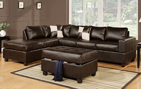 Furniture2go F7351 Espresso Bonded Leather Match Sectional Sofa + Ottoman - Reversible Left/Right Chaise, 3-Seat Sofa, Ottoman, 2 Accent Pillows