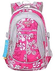 JiaYou Kid Child Girl Flower Printed Waterproof Backpack School Bag(Rose,Large)