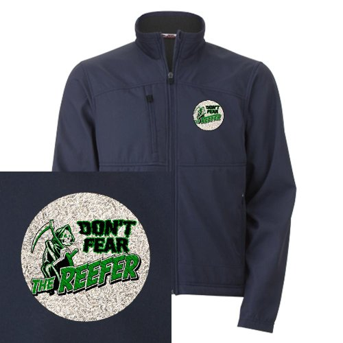 Artsmith, Inc. Men's Embroidered Jacket Marijuana Don't Fear The Reefer Grim Reaper - Navy, 2X
