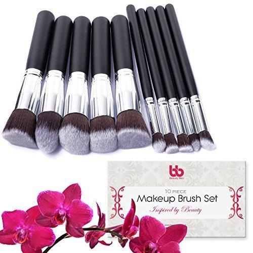 Beauty Bon - Pennelli professionali da trucco, 10pezzi, con manici in plastica, ideali per l'applicazione di correttori, fondotinta e cipria.