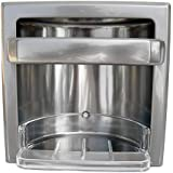LASCO 35-3035 Recessed Soap and Grab Bar Bath Accessory, Plastic Soap Dish Included, Satin Nickel Finish