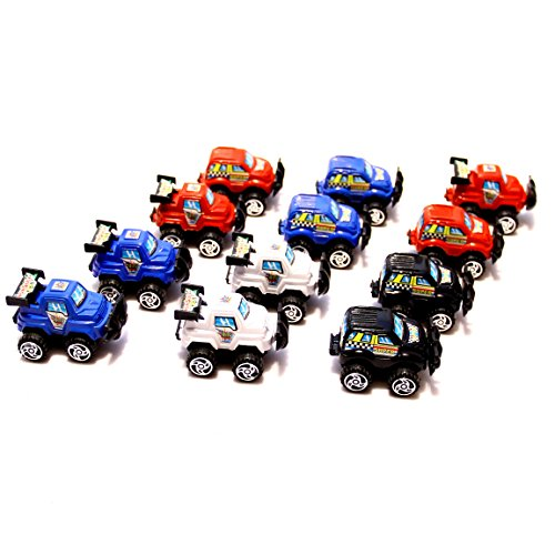 Dazzling Toys Pull Back & Let Go Race Cars 12 Pack, Assorted Car Colors: Red, White, Blue and Black, 3-4 Inch Cars - 1